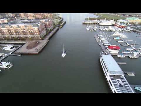 HD 2.7K - Drone Flight at Sunset over Morris Canal in Jersey City