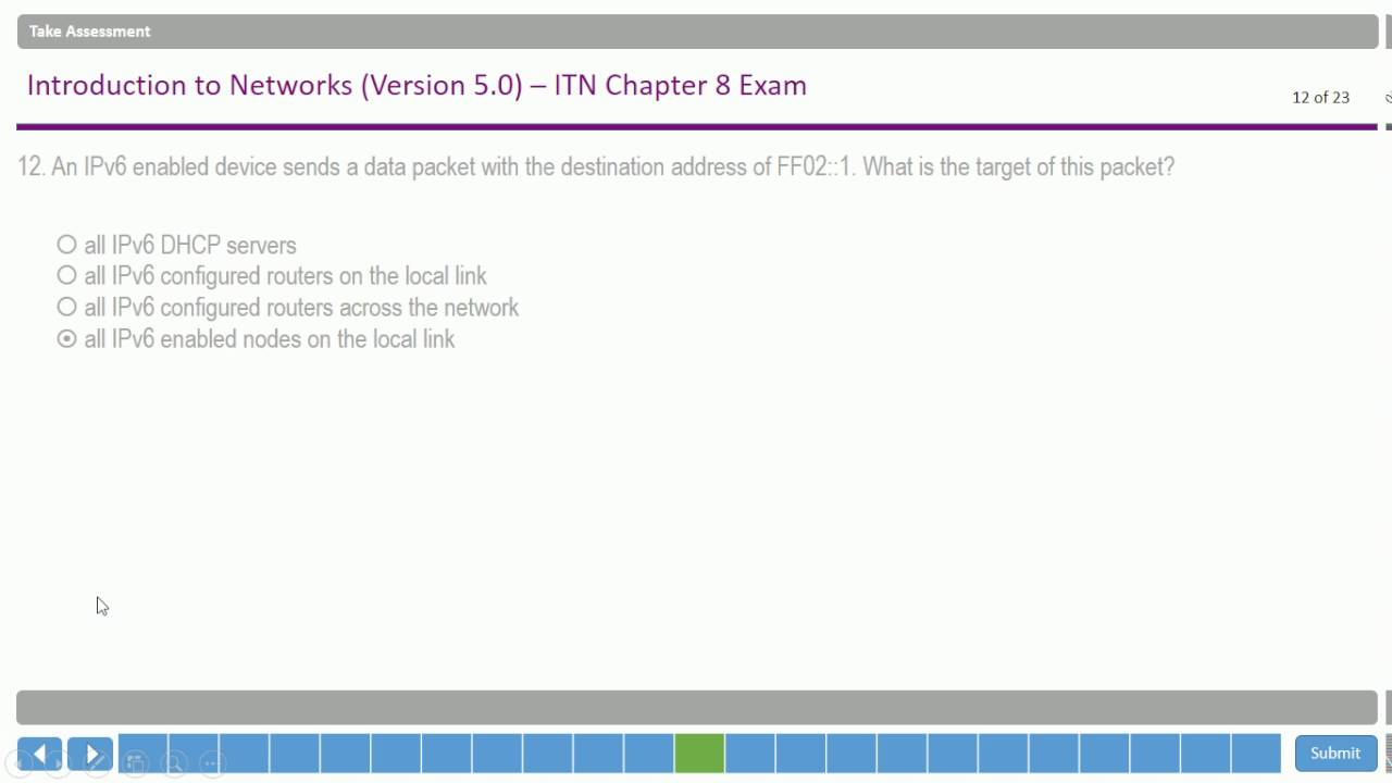 CISCO - CISCO Networking Academy ( CCNA 1 ) - Chapter 8 Exam - Latest