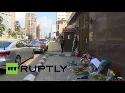 Egypt: Mourners lay tributes at Cairo's Russian Embassy