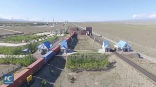 "Aerial view of ""Silk Road"" land port in Xinjiang, China"