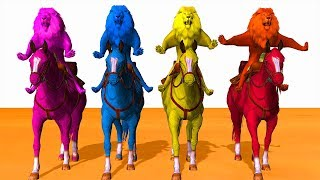 Colors Lion Riding Horse Colours Cartoon For Kids - Learn Colors Animals For Children