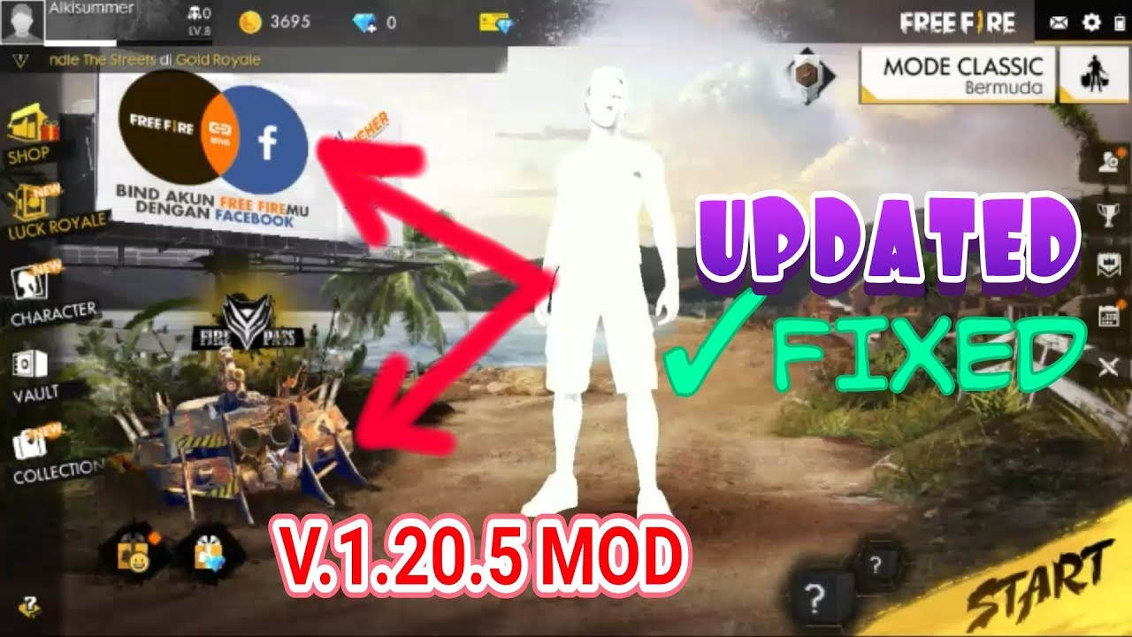 [UPDATED] Free Fire Mod Apk V.1.20.5 WHITE BODY, DAMAGE 99999, ANTI BANNED