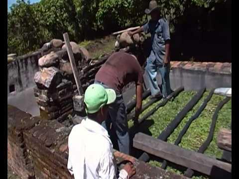 Extracción Del Añil En Niltepec, Oaxaca. Preparación De La Pileta Con La Planta
