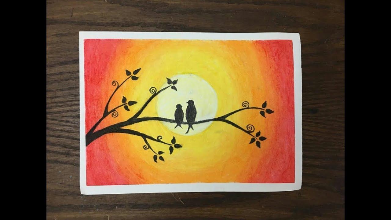 رسم عصافير خلال غروب الشمس بالألوان ال Oil Pastel Youtube