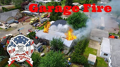 Garage fire in Amity Oregon filmed with Drone Phantom 3 Pro