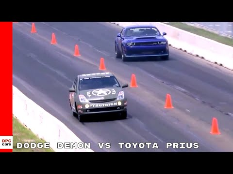 Dodge Challenger Demon Vs Toyota Prius With Hellcat Engine Drag Race
