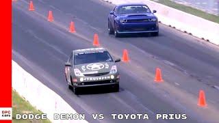 Dodge Challenger Demon vs Toyota Prius With Hellcat Engine Drag Race