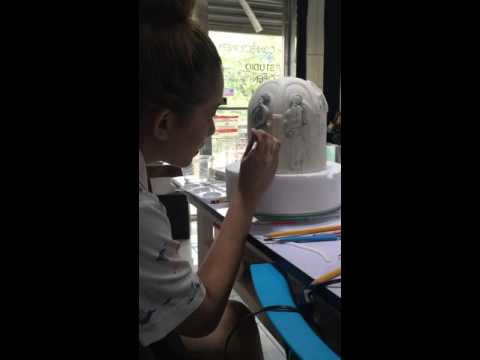 Free-hand Cake Painting and Bas relief Greco-Roman Cake
