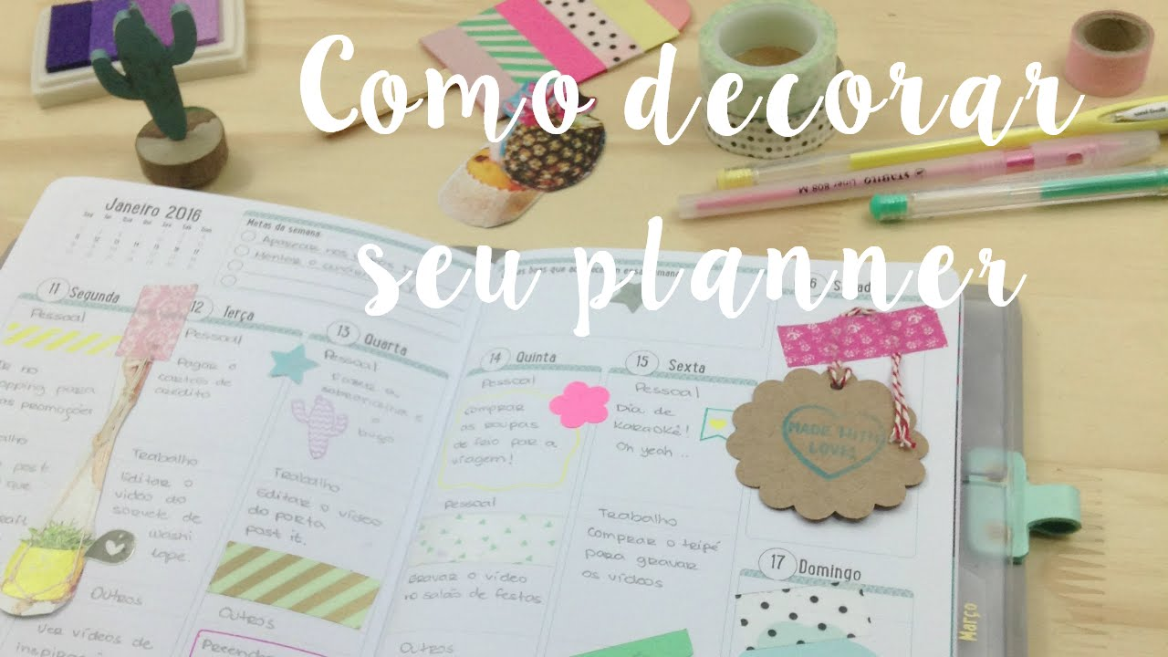 Como decorar as p ginas do seu planner youtube for Decorar paginas