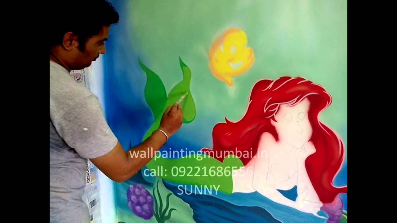 Disney Mermaid Themed Wall Murals/ Painting Mumbai,India   YouTube Part 42