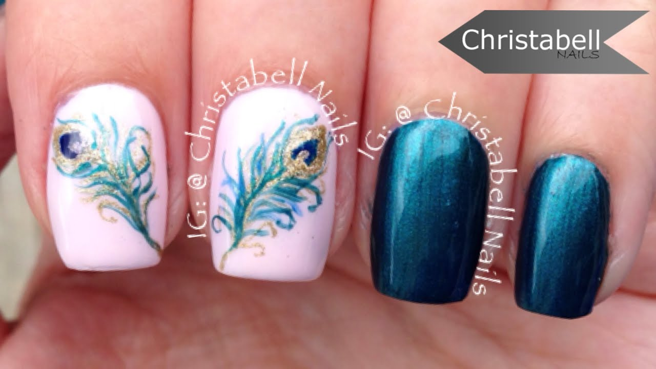 Peacock Feather Nail Art Tutorial Youtube