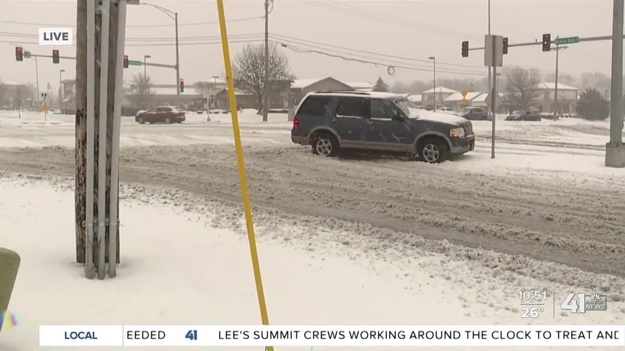 Heavy snow has created hazardous conditions in Olathe