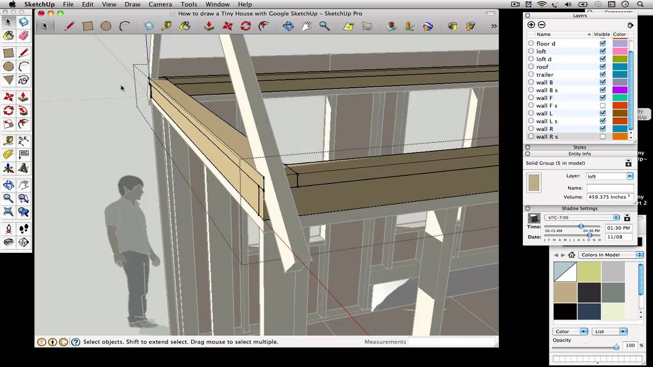 How to draw a Tiny House with Google SketchUp Part 3