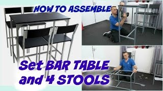 BAR TABLE and 4 STOOLS form Ebay