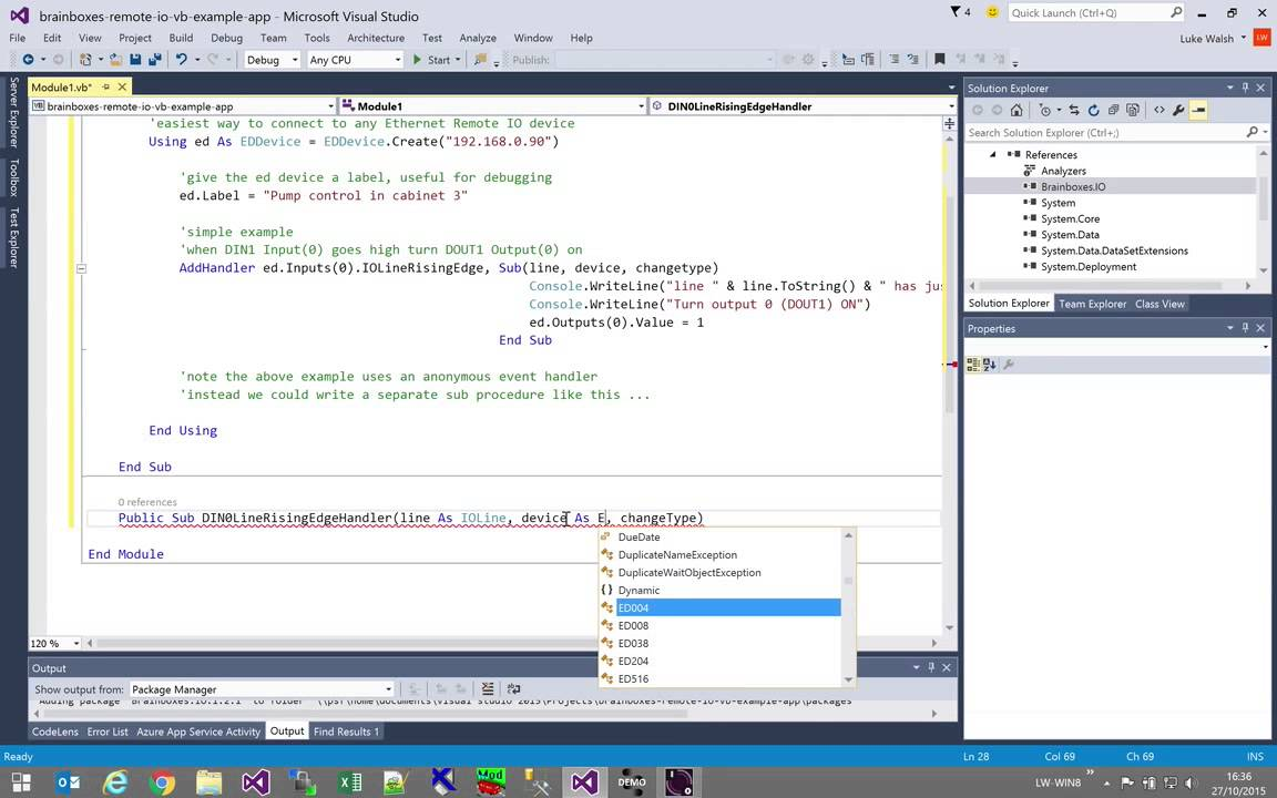 How do I use Visual Basic (VB) to communicate with my Remote