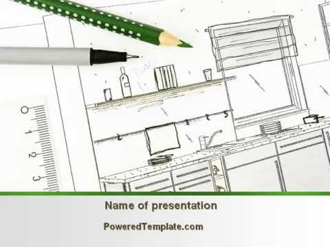 Kitchen interior design powerpoint template by for Interior design layout templates