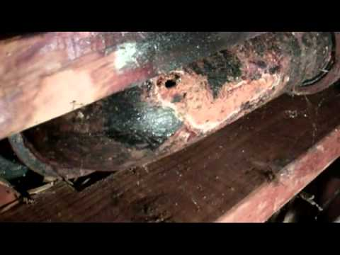 repair the cast iron sewer line pipe under the toilet patch a hole