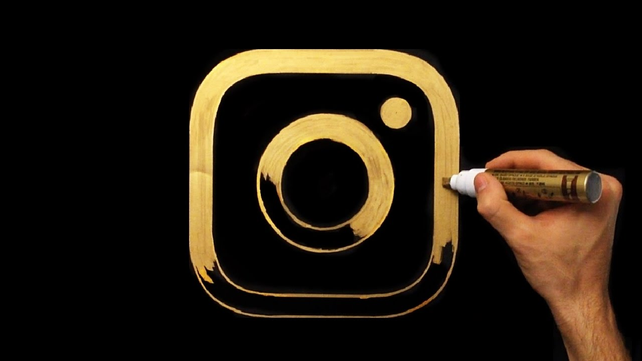 How To Draw Gold Instagram Icon | Logo Drawing | Draw With Denis