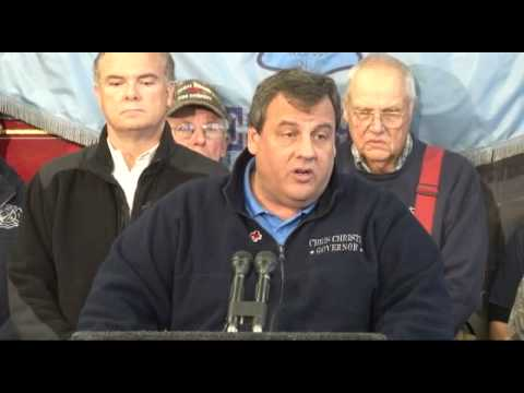 Governor Christie Hurricane Sandy And Nor'easter Preparation Press Briefing In Harvey Cedars