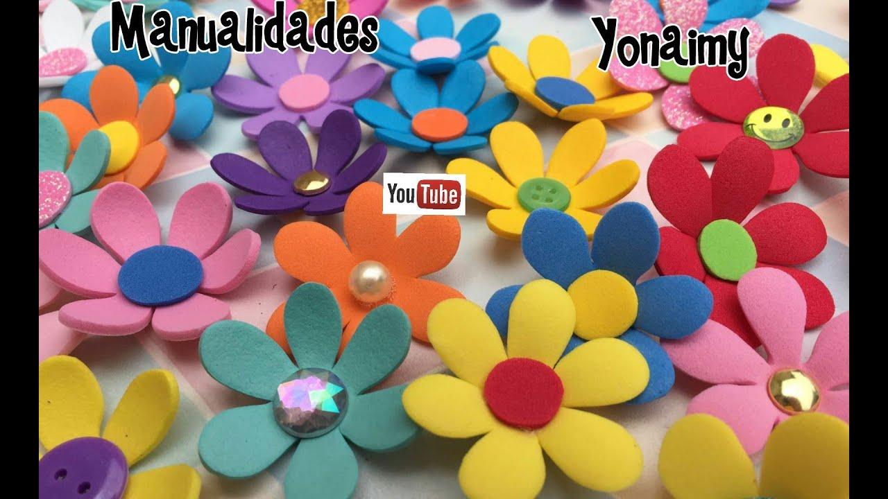 Florecitas medianas hechas con foamy o goma eva youtube - Flores sencillas de goma eva ...