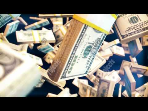 Abstract CGI motion graphics with flying dollar bill