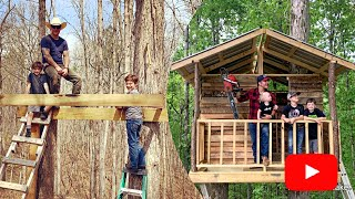 How to build a Treehouse FULL Time lapse VIDEO! Father and sons surviving quarantine in the woods
