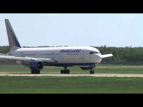Боинг 767-300 Трансаэро, посадка в Домодедово.