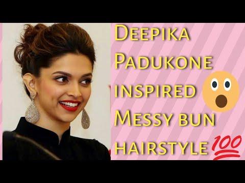 Deepika Padukone inspired Messy bun hairstyle without ...