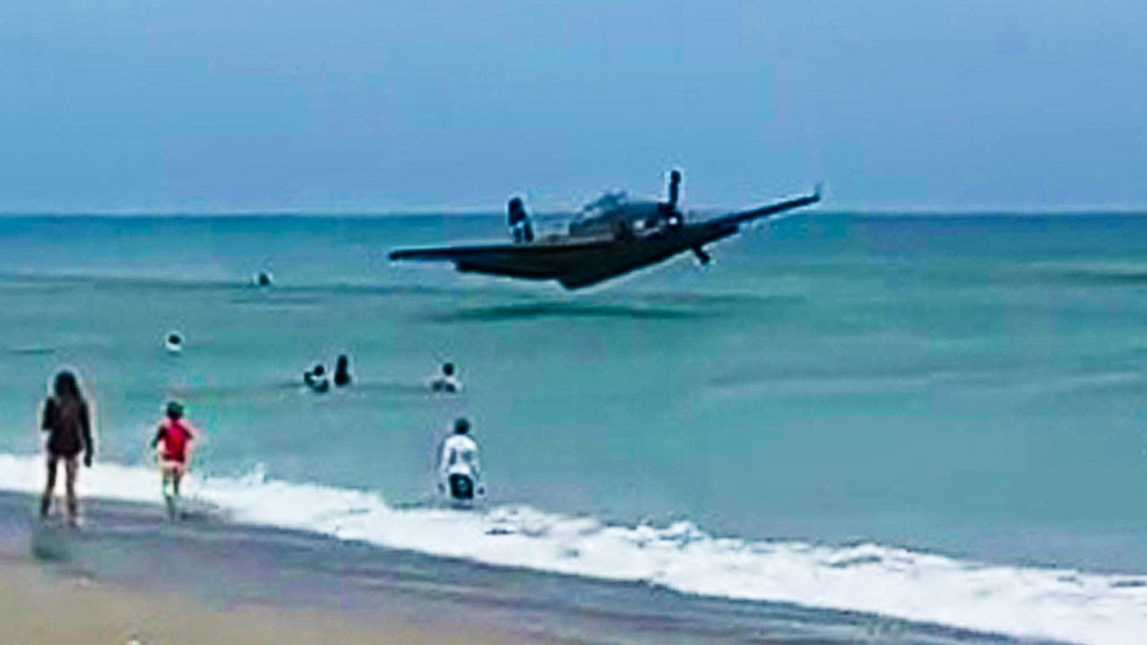 Plane Crashes In Ocean At Crowded Beach
