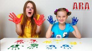 Ulya وأمي تلعب في الرسم باليد