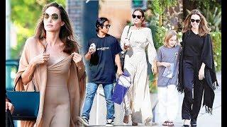 Выходы Анджелины Джоли с детьми 2018 (Снимки папарацци)