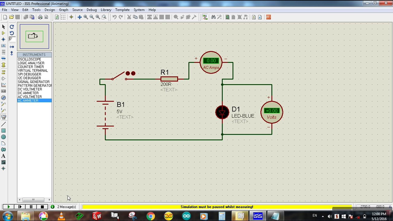 how to connect voltmeter ammeter in a circuit proteus simulation [ 1280 x 720 Pixel ]