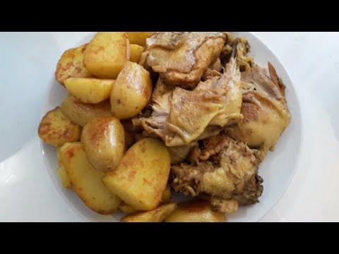 idée-d'une-recette-facile-pour-le-repas-de-dimanche-sans-four,-poulet-rôti-et-pommes-de-terre-sautée