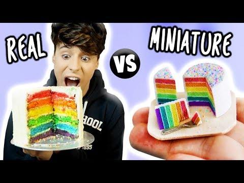 MINI Food vs. REAL Food 3!!! Spaghetti Bolognese, Nachos & Rainbow Cake