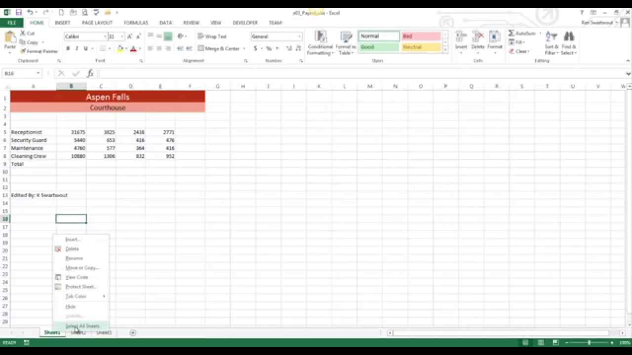 Group Sheets in Excel 2013 YouTube – Excel Group Worksheets