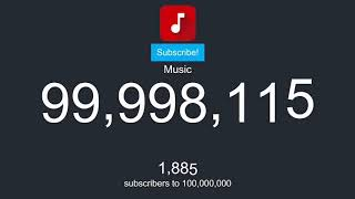 FIRST CHANNEL TO HIT 100 MILLION SUBSCRIBERS! YOUTUBE MUSIC HITS 100 MILLION! LIVE SUBCOUNT!