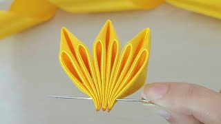 Super Easy Ribbon Flower Making  Hand Embroidery Amazing Trick with Ribbon  DIY Craft Ideas