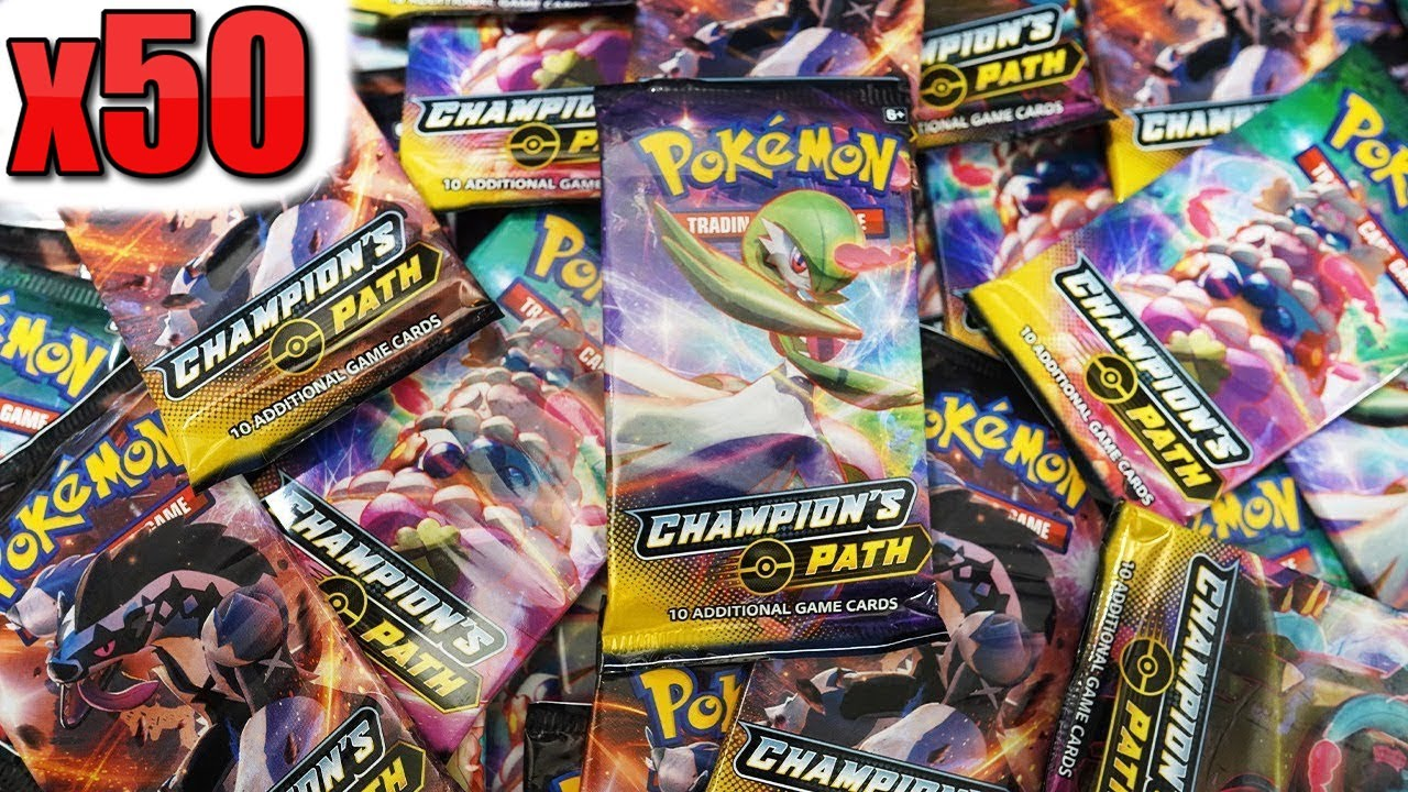Opening 50x Pokemon Champion's Path Booster Packs