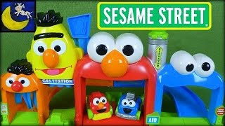 sesame street giggle n go garage with elmo and cookie monster cars