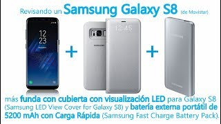 Revisando Samsung Galaxy S8 + Cubierta con LED + Batería portátil Carga Rápida (01/06/2017)