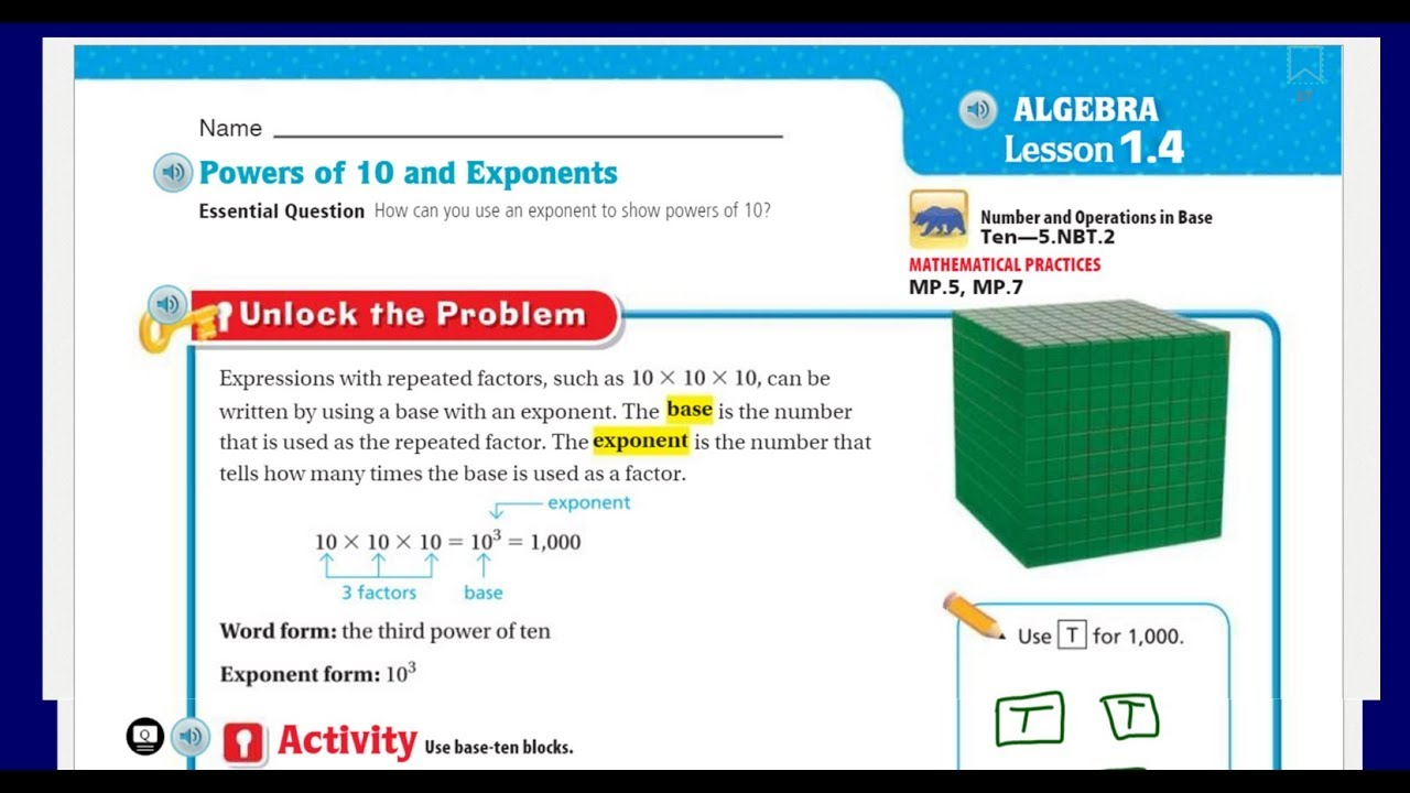 Go Math 5th Grade Lesson 1.4 Powers of 10 and Exponents ...