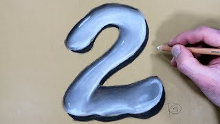 How to Draw a number 2 in Water With Dry Pastel Pencils