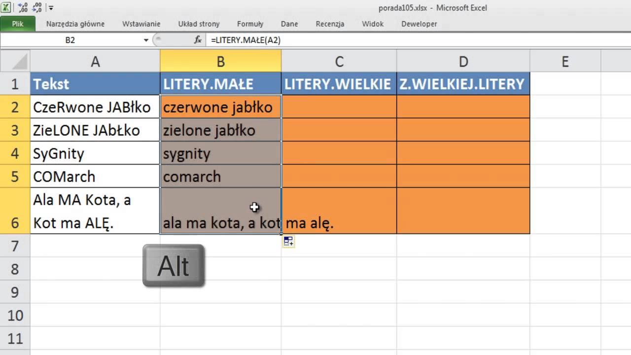Excel Literymałe I Literywielkie Porada 105