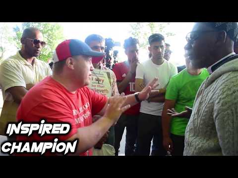Jason Burns gets pushed by Muslim, but Still continues to Preach.