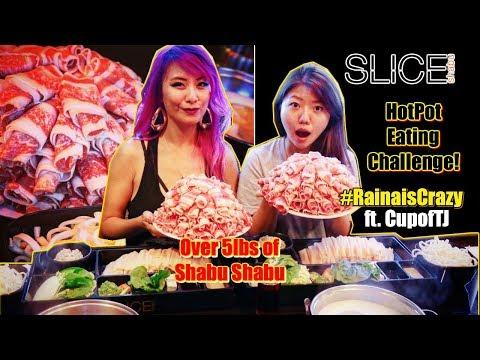 Slice Shabu Hot Pot Eating Challenge Ft. CupofTJ   RainaisCrazy   Huntington Beach, CA