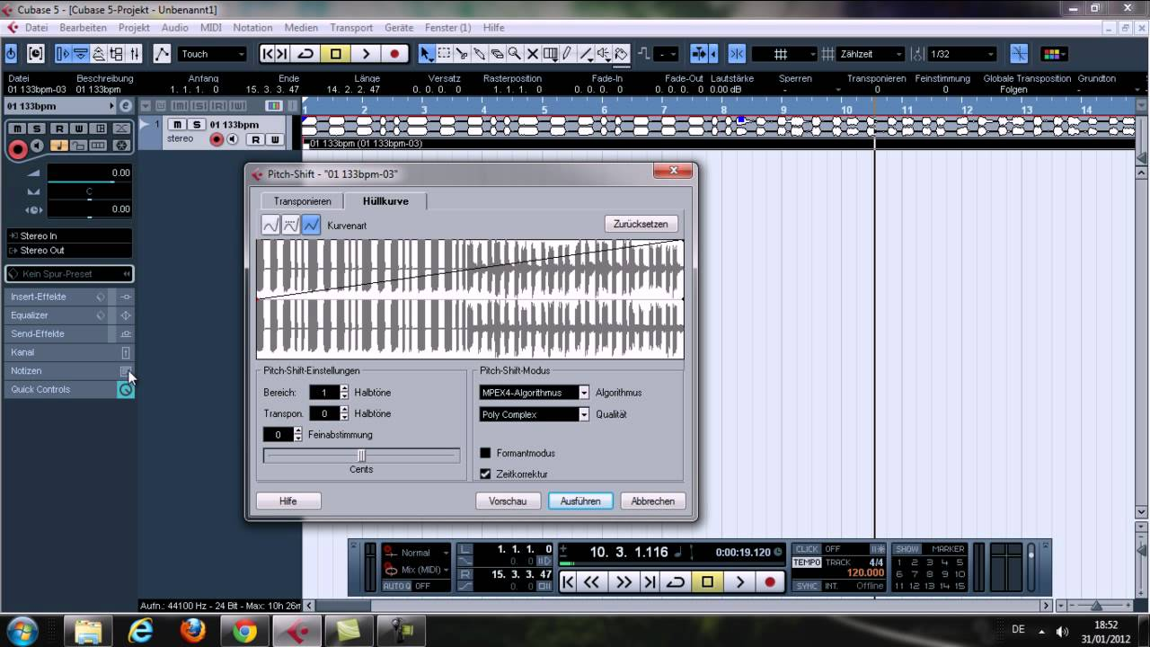 how to use pitch shift in cubase