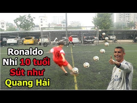 Thử thách bóng đá sút Vô lê như Ronaldo với Quang Hải Nhí U23 Việt Nam tương lai