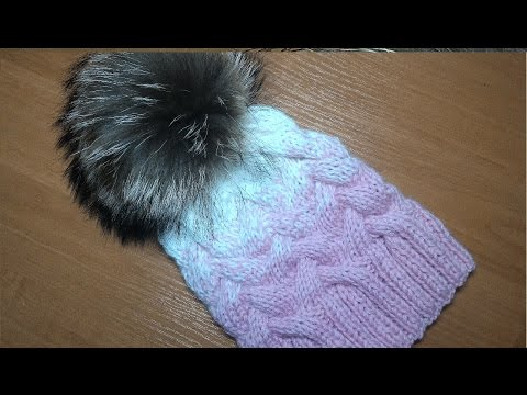 Вязание спицами. Шапка с косами из 12 петель и градиентом.