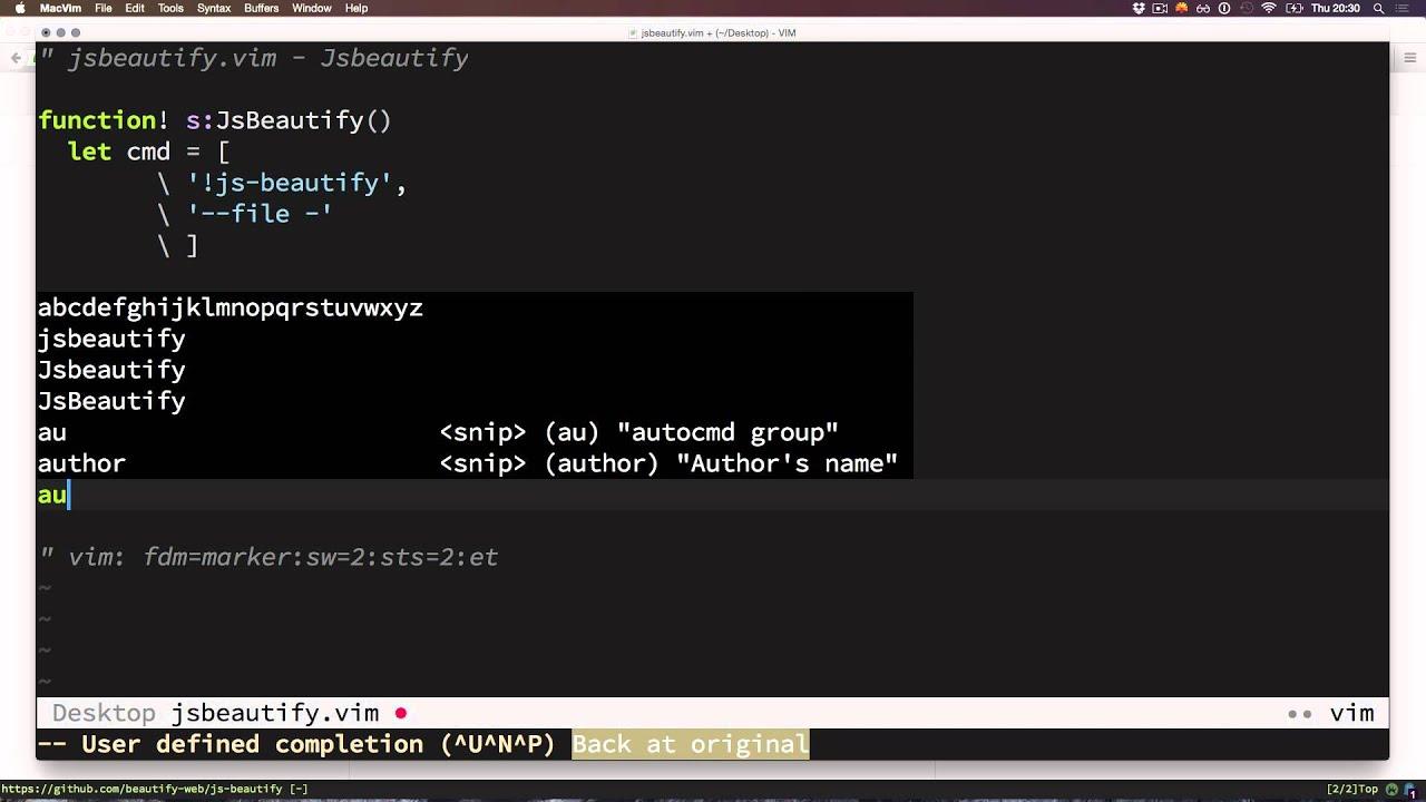 Integrating js-beautify Into Vim