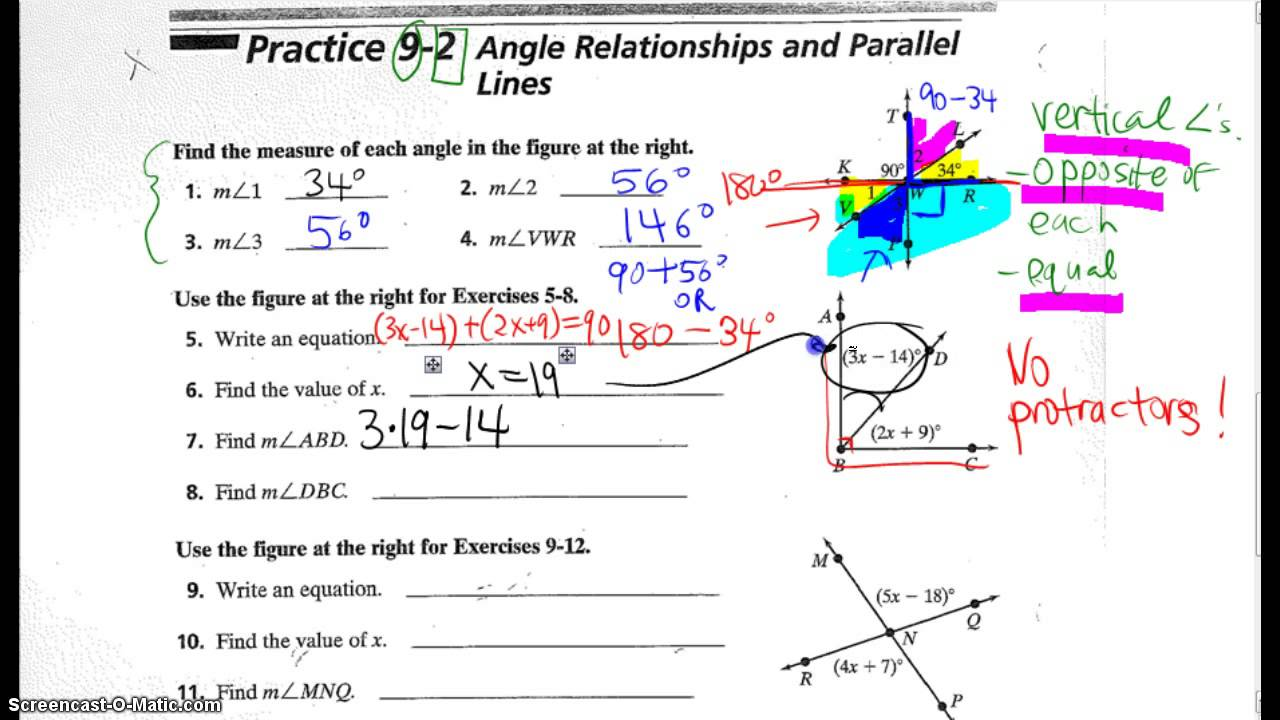 worksheet Angles And Parallel Lines Worksheet 9 2 angle relationships practice wkst youtube